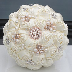 Round Satin/Rhinestone/Imitation Pearl Bridal Bouquets (Sold in a single piece) -