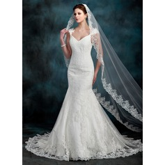Trumpet/Mermaid Sweetheart Chapel Train Tulle Lace Wedding Dress With Beading (002000630)