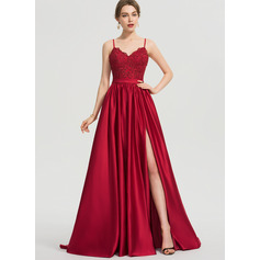 A-Line V-neck Sweep Train Satin Prom Dresses With Beading Sequins Split Front (018192367)