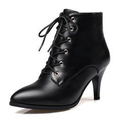 Mulheres Couro Salto agulha Botas Bota no tornozelo com Aplicação de renda sapatos