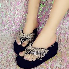 Kvinnor Duk Flat Heel Plattform Flip Flops Tofflor med Strass Tofs Blomma skor