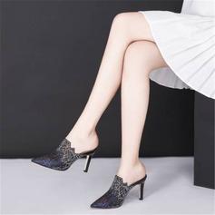 Kvinnor Microfiber läder Mesh Stilettklack Pumps Stängt Toe Tofflor med Strass skor