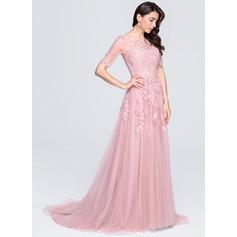 Vestidos princesa/ Formato A Decote redondo Cauda de sereia Tule Vestido de festa com Apliques de Renda