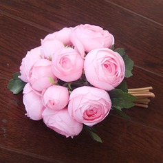 Nice Redondo Seda artificiais Buquês de noiva/Buquês da nama de honra/Flores da Tabela do Casamento -