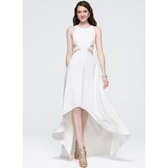 A-Line/Princess Scoop Neck Asymmetrical Satin Prom Dress