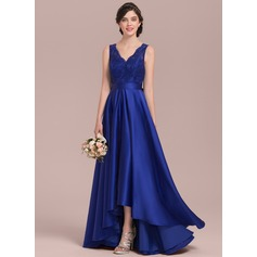 A-Line/Princess V-neck Asymmetrical Satin Lace Prom Dress With Bow(s) (018144957)