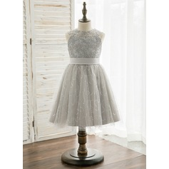 Princesový Po kolena Flower Girl Dress - Tyl/Krajka Bez rukávů Scoop Neck S Zdobení korálky
