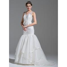 Trompete/Sereia Decote V Sweep/Brush trem Organza de Renda Vestido de noiva com Beading lantejoulas Curvado