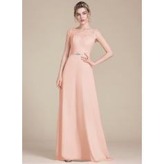 A-Line/Princess Scoop Neck Floor-Length Chiffon Lace Bridesmaid Dress With Beading Bow(s) (007105589)