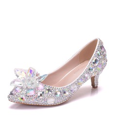 Women's Leatherette Stiletto Heel Closed Toe Pumps With Rhinestone Flower (047144255)