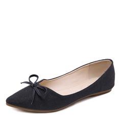 Femmes Toile Talon plat Chaussures plates Bout fermé avec Bowknot chaussures