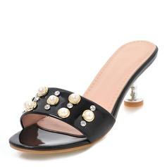Donna Pelle verniciata Tacco a spillo Sandalo Stiletto Punta aperta Con cinturino con Perla imitazione scarpe