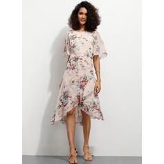 A-Line Scoop Neck Asymmetrical Homecoming Dress