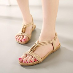 Women's Leatherette Flat Heel Sandals Flats Peep Toe With Braided Strap Elastic Band shoes