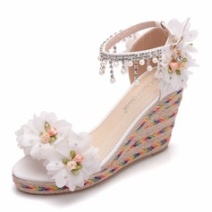 Women's Leatherette Wedge Heel Peep Toe Sandals Wedges With Beading Imitation Pearl Flower Tassel Chain