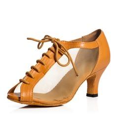 Mulheres Lona Renda Sandálias Treino com Aplicação de renda Sapatos de dança