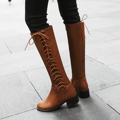Women's Leatherette Chunky Heel Boots Mid-Calf Boots With Lace-up shoes (088217154)