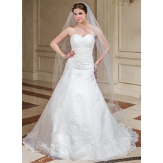 One-tier Cathedral Bridal Veils With Scalloped Edge (006041347)