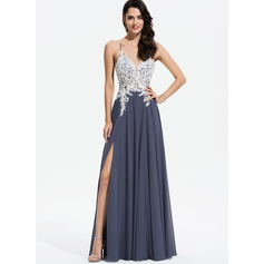 A-Line V-neck Floor-Length Chiffon Prom Dresses With Lace Beading Sequins Split Front (018175905)