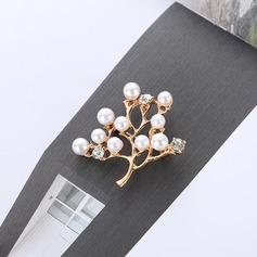 Beau Alliage Strass De faux pearl avec Perle d'imitation Dames Broches de mode (Vendu dans une seule pièce)