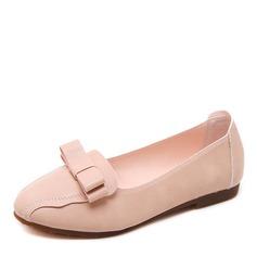 Женщины кожа Плоский каблук На плокой подошве Закрытый мыс с бантом обувь