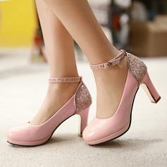 De mujer Cuero Tacón ancho Salón Cerrados con Brillo Chispeante Hebilla zapatos