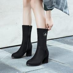Veloursleder Stämmiger Absatz Flache Schuhe Keile Pantoffel mit Reißverschluss Schuhe
