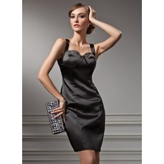 Sheath/Column Sweetheart Knee-Length Charmeuse Cocktail Dress With Beading