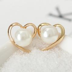 Vackra Och Legering Fauxen Pärla med Oäkta Pearl Damer' Mode örhängen