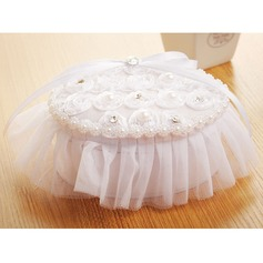 Elegant Ring Pillow in Cloth With Faux Pearl/Lace