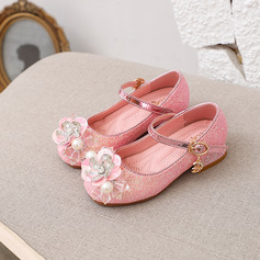 Girl's Round Toe Closed Toe Leatherette Low Heel Flats Sneakers & Athletic Flower Girl Shoes With Buckle Sparkling Glitter Flower
