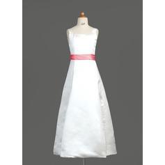 A-Line/Princess Square Neckline Floor-Length Satin Junior Bridesmaid Dress With Sash