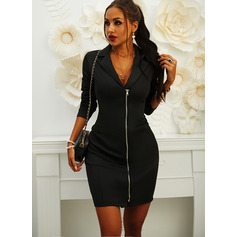 Solid Bodycon Long Sleeves Mini Little Black Casual Elegant Dresses (294254033)