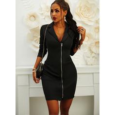 Solido Aderente Maniche lunghe Mini Piccolo nero Casuale Elegante Vestiti di moda (294254033)