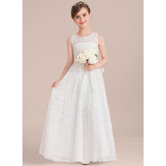 A-Line/Princess Scoop Neck Floor-Length Lace Junior Bridesmaid Dress With Sash Bow(s) (009130490)