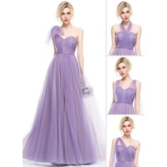 A-Line/Princess Sweetheart Floor-Length Tulle Bridesmaid Dress With Ruffle (007076095)