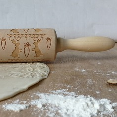 Easter Bunny Radish Engraved Embossed Rolling Pin