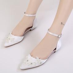 Women's Silk Like Satin Low Heel Closed Toe Flats With Buckle Rhinestone Applique