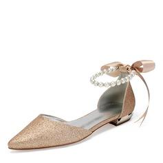 Vrouwen Sprankelende Glitter Flat Heel Flats Sandalen met Imitatie Parel Strass Lovertje Sprankelende Glitter Parel