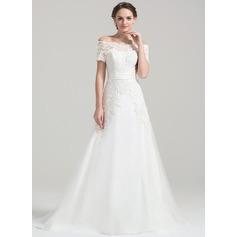 A-Line/Princess Off-the-Shoulder Court Train Tulle Wedding Dress