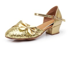 De mujer Niños Brillo Chispeante Tacones Sala de Baile con Bowknot Zapatos de danza