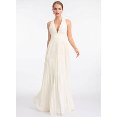 Corte A Decote V Longos Tecido de seda Vestido de noiva com Plissada