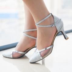 Женщины Мерцающая отделка На каблуках На каблуках Латино Современный Обувь для танцев