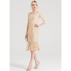 Trumpet/Mermaid Square Neckline Knee-Length Lace Cocktail Dress
