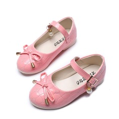 Girl's Leatherette Flat Heel Round Toe Flats With Bowknot Velcro