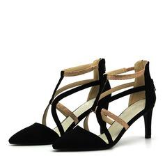 Kvinder Ruskind Stiletto Hæl sandaler Pumps med Lynlås sko