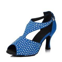 Femmes Satiné Talons Sandales Escarpins Salle de bal avec Strass Chaussures de danse