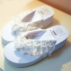 Women's Cloth Flat Heel Flip-Flops Platform Beach Wedding Shoes With Satin Flower