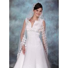 Een-rij Wals Bruids Sluiers met Lace Stoffen Rand (006003744)