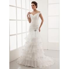 A-linjeformat Off-shoulder Ringning Court släp Organzapåse Bröllopsklänning med Spetsar Kristallbrosch Svallande Krås